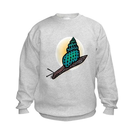 Pretty Turquoise Snail Kids Sweatshirt