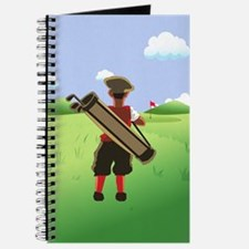 Funny cartoon golfer looking at hole Journal