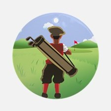 Funny cartoon golfer looking at h Round Ornament