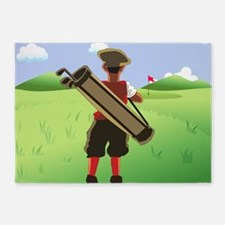 Funny cartoon golfer looking at h 5'x7'Area Rug