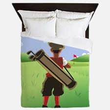 Funny cartoon golfer looking at hole Queen Duvet