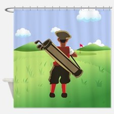 Funny cartoon golfer looking at h Shower Curtain