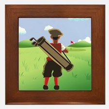 Funny cartoon golfer looking at hole Framed Tile