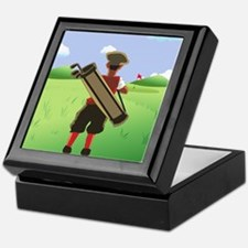 Funny cartoon golfer looking at hol Keepsake Box