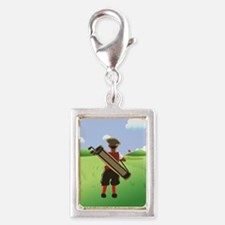 Funny cartoon golfer looking at hole Charms