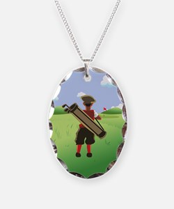 Funny cartoon golfer looking a Necklace