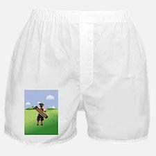 Funny cartoon golfer looking at hol Boxer Shorts