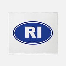 Rhode Island RI Euro Oval Throw Blanket