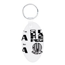 Cute Down's syndrome Aluminum Oval Keychain