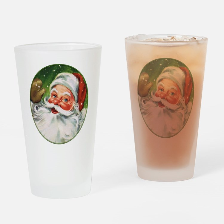 Vintage Santa Face 1 Drinking Glass