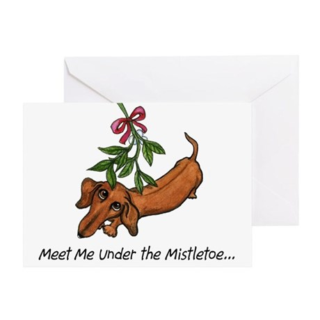 Mistletoe Dachshund Christmas Card