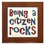 Being a USA Citizen Rocks Framed Tile