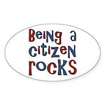 Being a USA Citizen Rocks Oval Sticker