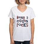 Being a USA Citizen Rocks Women's V-Neck T-Shirt