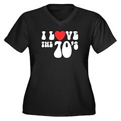 I Love the 70's Women's Plus Size V-Neck Dark T-Sh