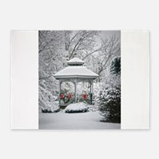 Gazebo in the Snow 5'x7'Area Rug