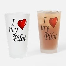 I Love My Pilot Drinking Glass