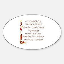 A WONDERFUL THANKSGIVING Sticker (Oval)