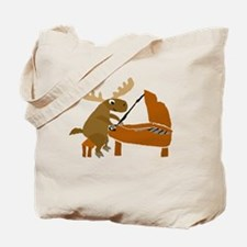 Funny Moose Playing the Piano Tote Bag