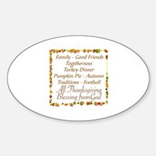 THANKSGIVING BLESS FROM GOD Sticker (Oval)
