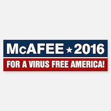 McAfee 2016 For a Virus Free Amer Bumper Bumper Sticker