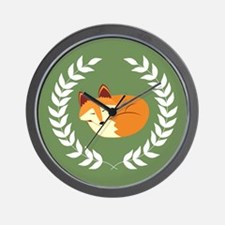 Sleeping Fox with Laurel Wreath Green Wall Clock