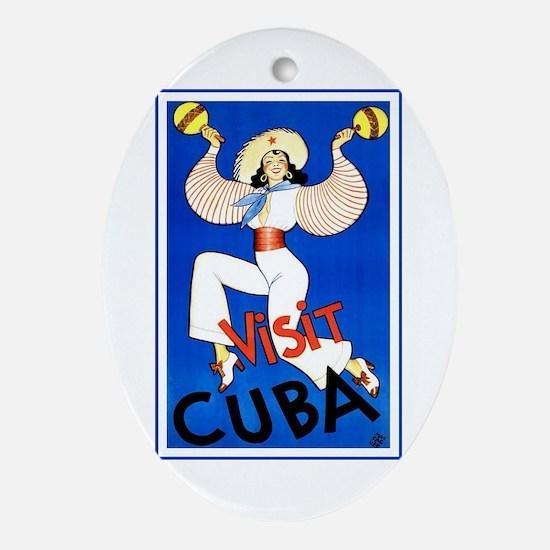 Vintage Travel Poster, Cuba Oval Ornament