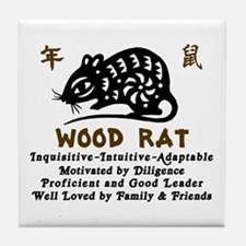 Chinese Zodiac Wood Rat Tile Coaster
