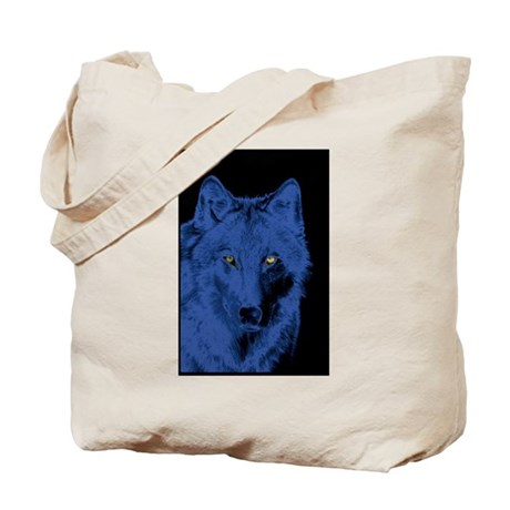 Wolf Face-Blue Tote Bag