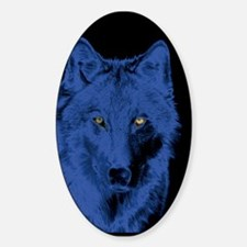 Wolf Face-Blue Oval Decal