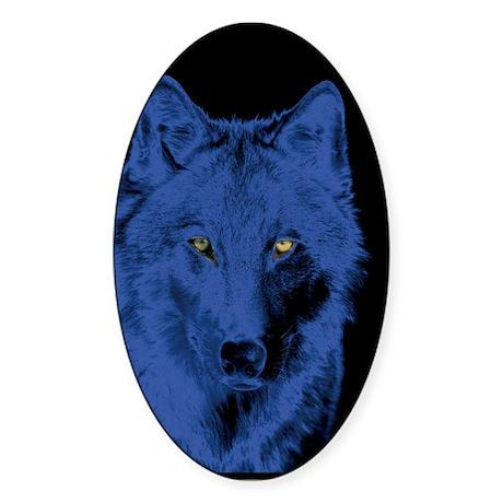 Wolf Face-Blue Oval Sticker