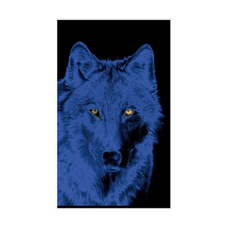 Wolf Face-Blue Rectangle Sticker