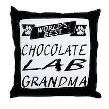 Worlds Best Chocolate Lab Grandma Throw Pillow