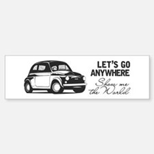 Vintage Fiat 500 World Travel Des Bumper Car Car Sticker