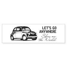 Vintage Fiat 500 World Travel Des Bumper Car Sticker