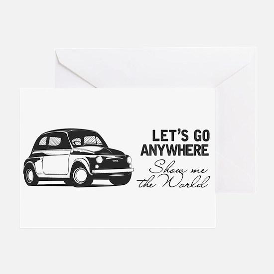 Vintage Fiat 500 World Travel Greeting Cards