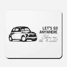 Vintage Fiat 500 World Travel Design Mousepad