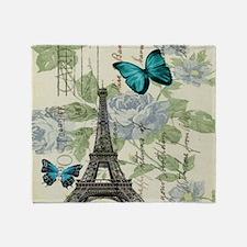 floral paris vintage eiffel tower Throw Blanket