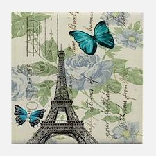 floral paris vintage eiffel tower Tile Coaster