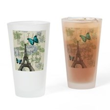 floral paris vintage eiffel tower Drinking Glass