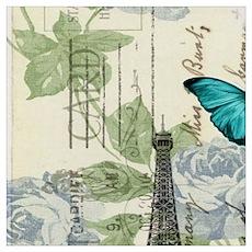 floral paris vintage eiffel tower Poster