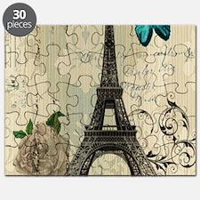 floral paris vintage eiffel tower Puzzle