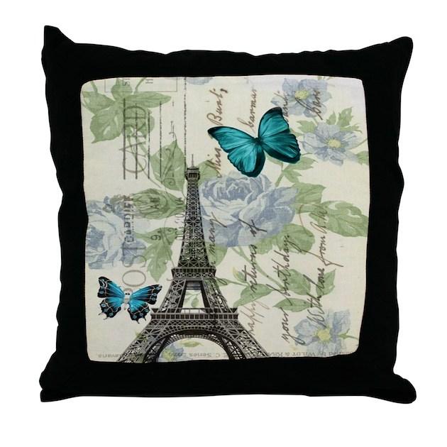 Decorative Pillows Eiffel Tower : floral paris vintage eiffel tower Throw Pillow by listing-store-62325139