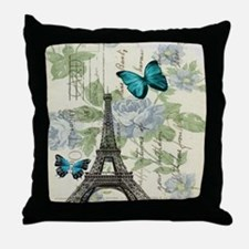 floral paris vintage eiffel tower Throw Pillow