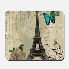 floral paris vintage eiffel tower Mousepad