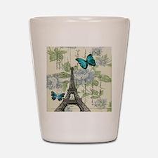 floral paris vintage eiffel tower Shot Glass