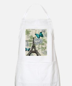 floral paris vintage eiffel tower Apron