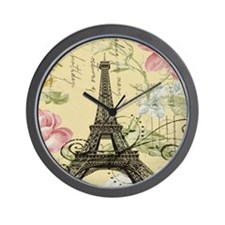 floral paris vintage eiffel tower Wall Clock