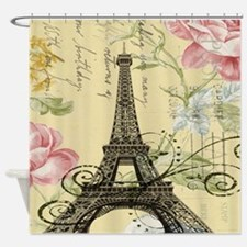 floral paris vintage eiffel tower Shower Curtain