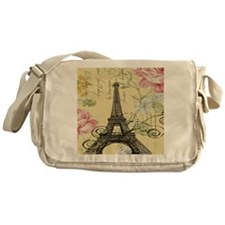 floral paris vintage eiffel tower Messenger Bag